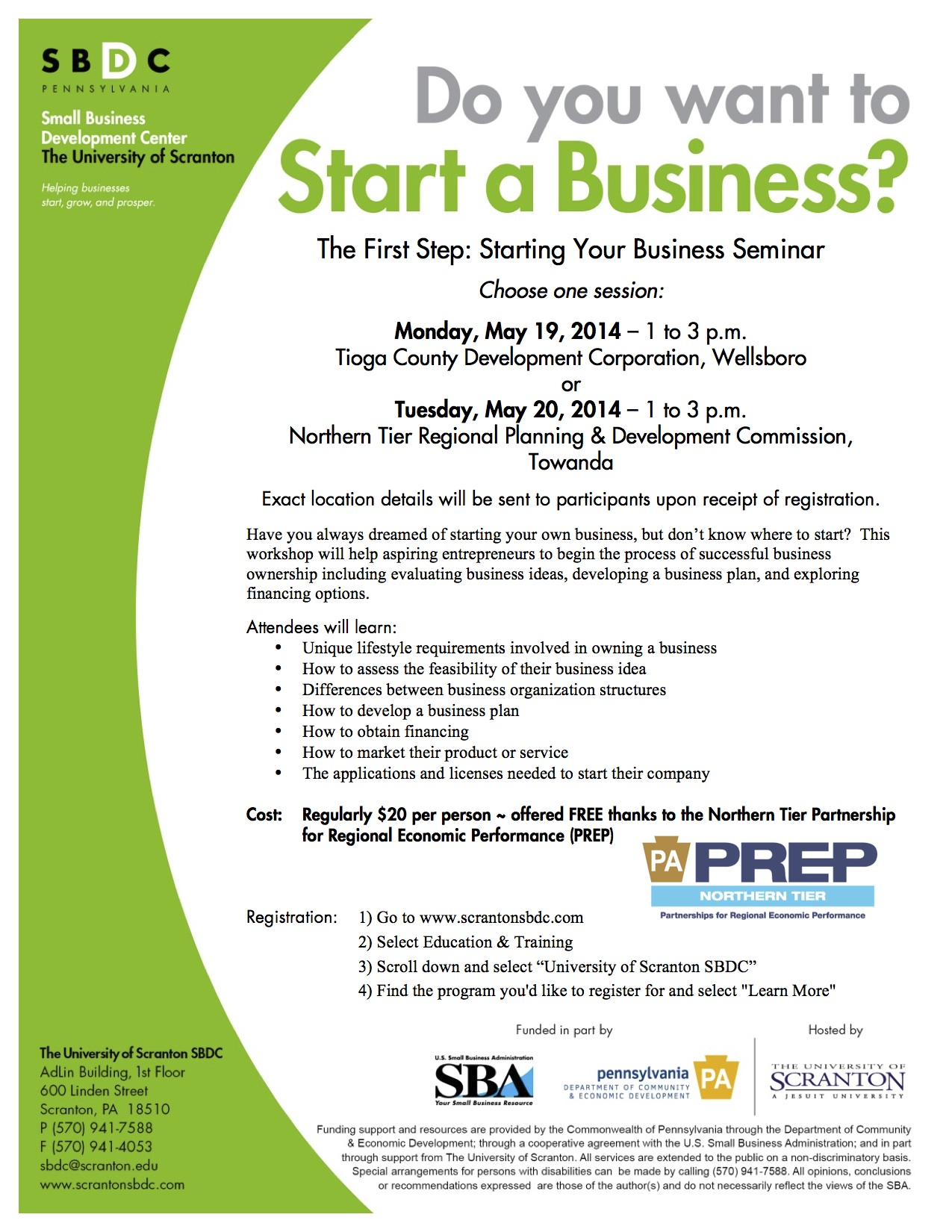 Starting a Business in Bradford or Tioga County PA? The University of Scranton SBDC can help?