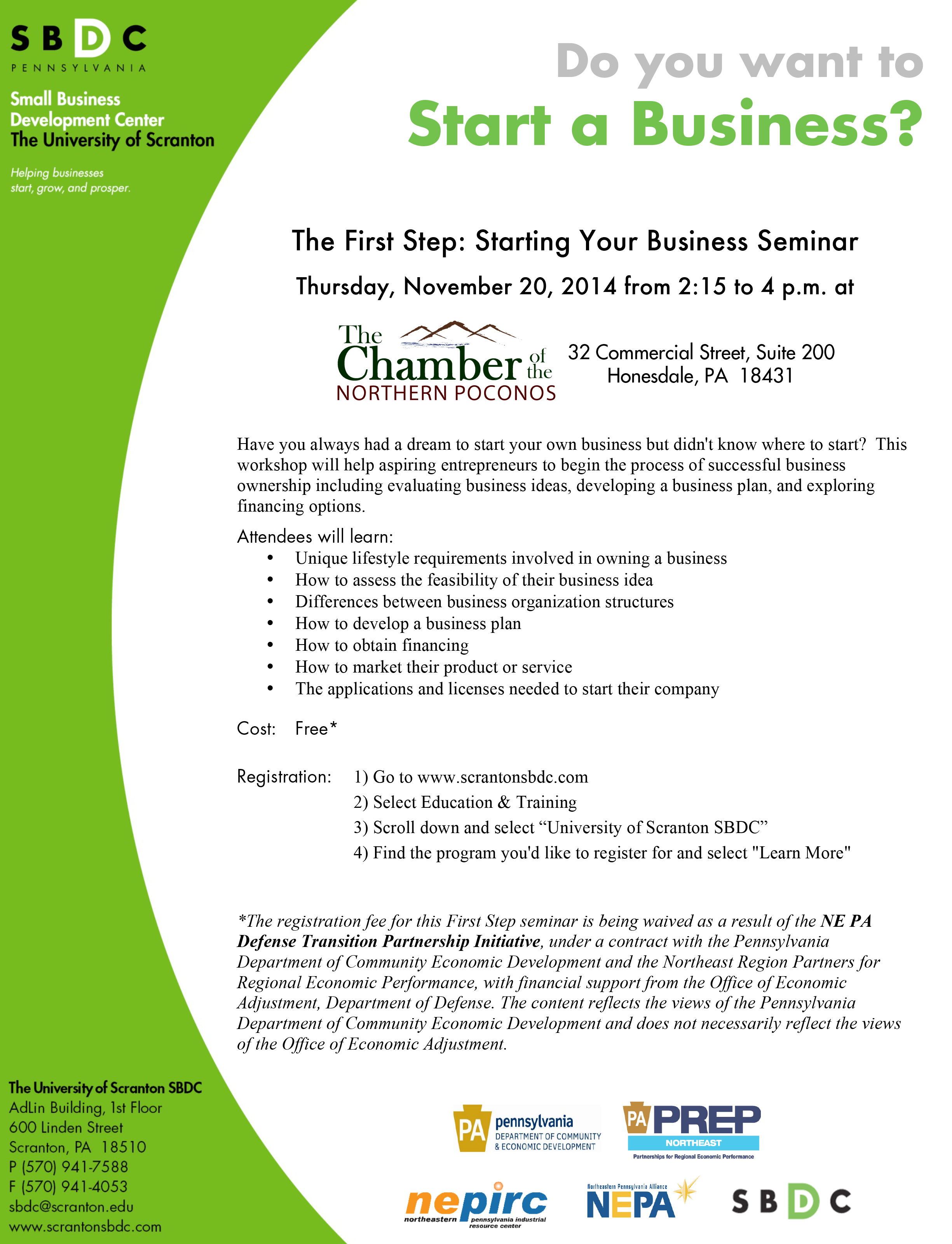 stating a business seminar Honesdale